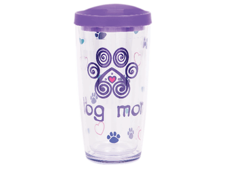 16 oz Thermal Drinkware - Dog Mom w/purple lid