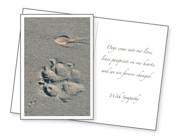 Dog Sympathy Card - Paw Prints on our Hearts