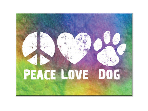 Rectangle Button Magnet - Peace Love Dog