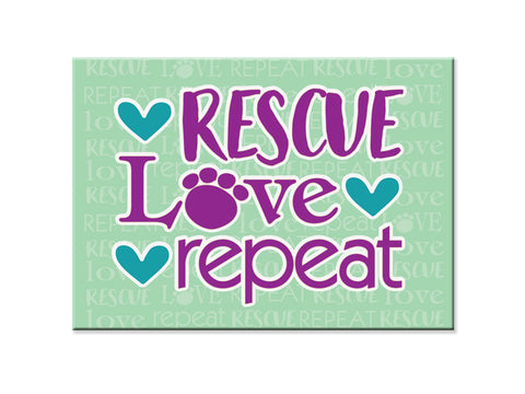 Rectangle Button Magnet -Rescue Love Repeat!