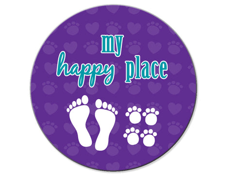 Absorbent Stone Car Coaster - My Happy Place (Foot Prints & Paw Prints)