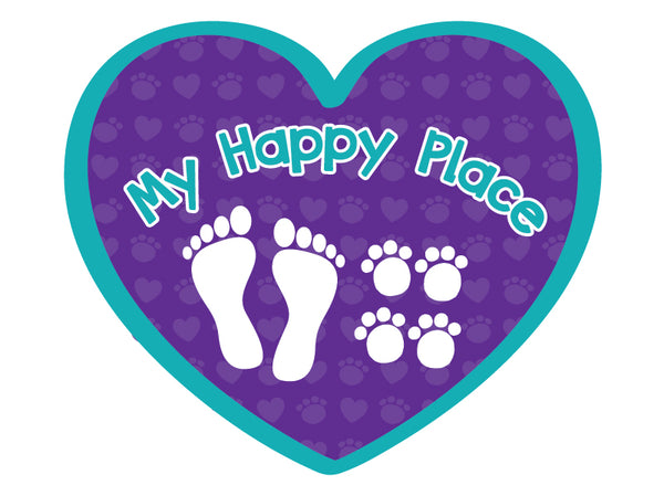 "My Happy Place (Foot Prints & Paw Prints) 3"" Decal"
