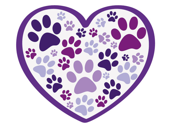 "Heart with all over paws 3"" Decal"
