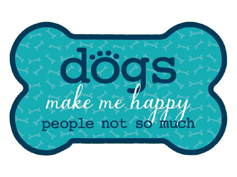 Bone Car Magnet - Dogs Make Me Happy, People Not So Much