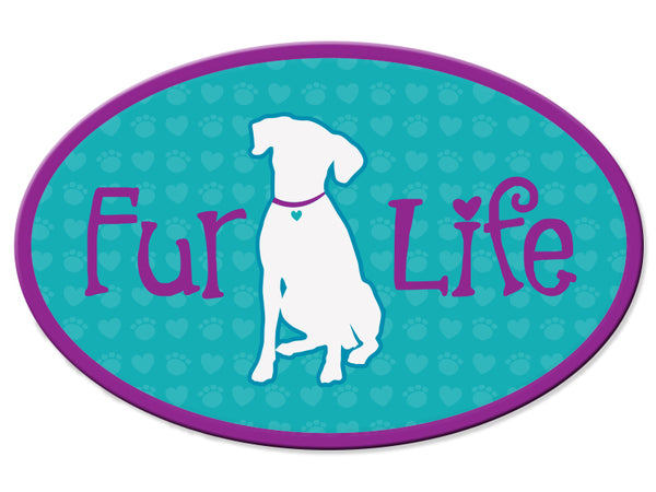 Oval Car Magnet - Fur Life (DOG)