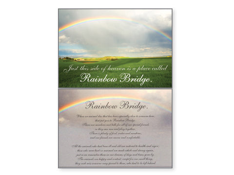 Pet Sympathy Card - RainBow Bridge