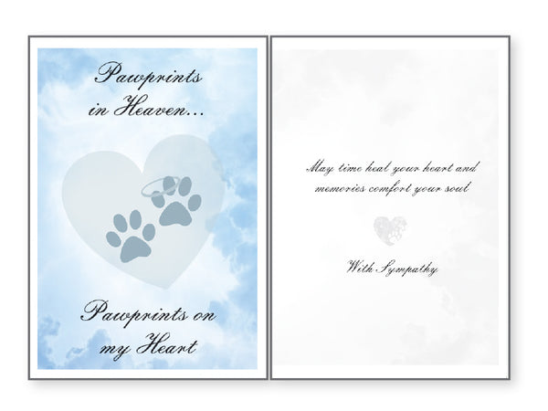 Pet Sympathy Card - Pawprints in Heaven Pawprints On My Heart