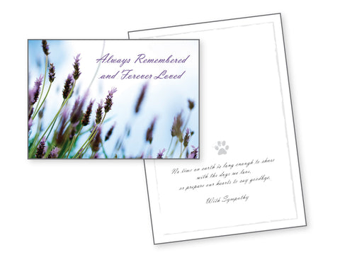 Dog Sympathy Card - Always Remembered and Forever Loved