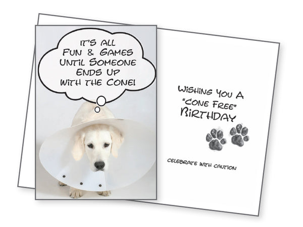 Funny Dog Birthday Card - Cone Free Birthday