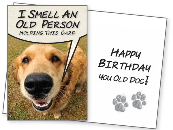Funny Dog Birthday Card - I Smell an Old Person