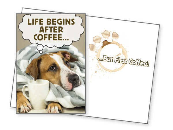Dog Lover Cope Card - Life Begins After Coffee