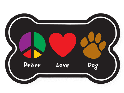 Flexible Bone Shaped Magnet - Peace Love Dog