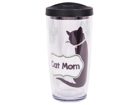 16 oz Thermal Drinkware - Cat Mom w/black lid