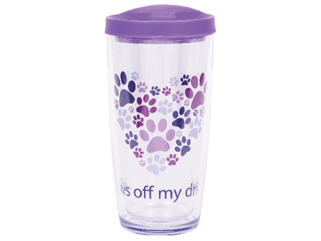 16 oz Thermal Drinkware - Paws off my drink w/purple lid