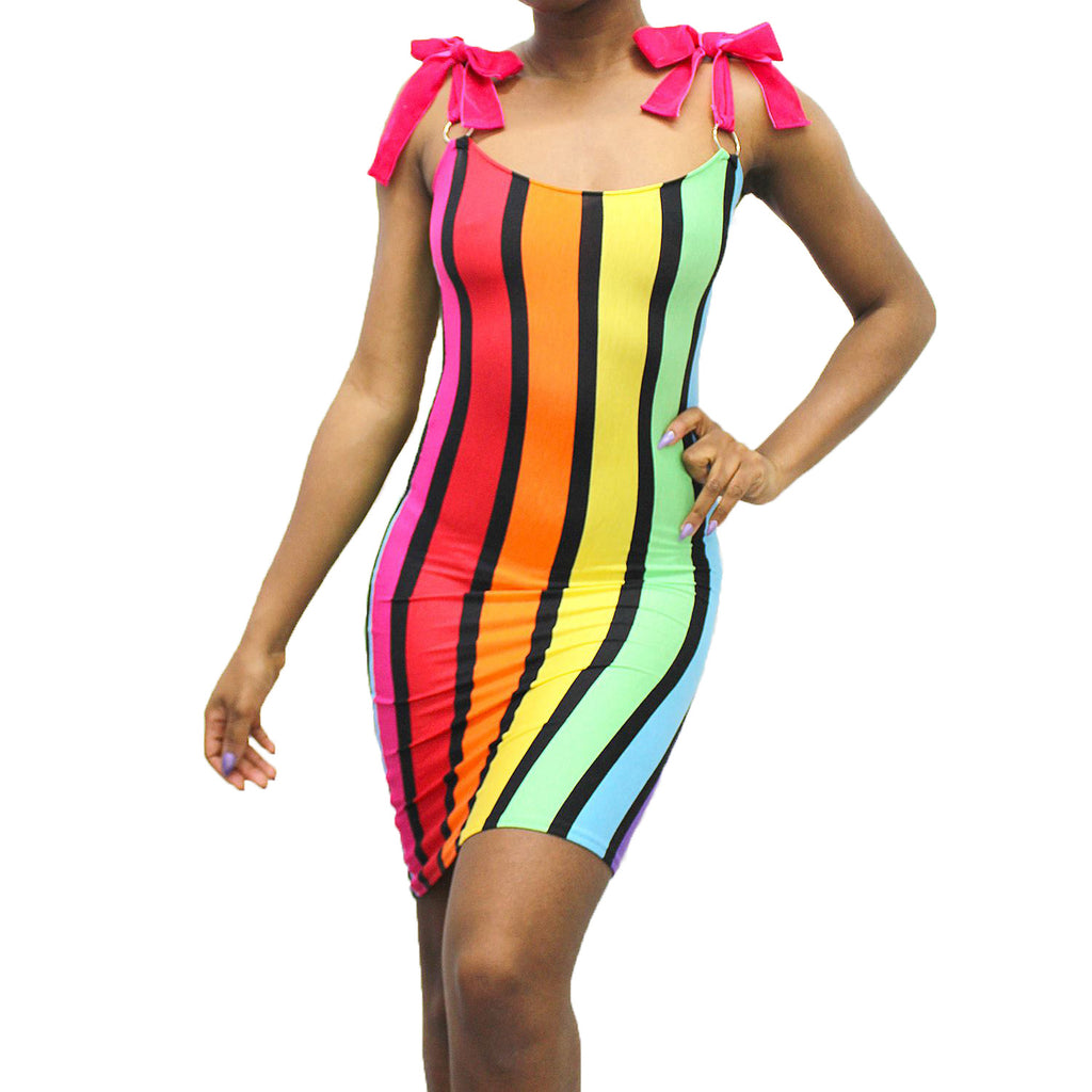 rainbow pride bodycon midi dress multi stripe with velvet ribbon shoulder ties