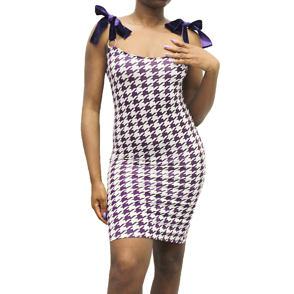 purple houndstooth dogtooth bodycon midi dress with velvet shoulder ties