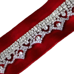 red wine maroon velvet choker necklace with diamonte central motif.