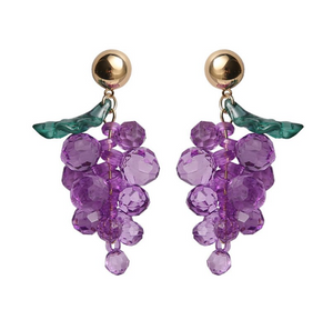 purple crystal grape drop earrings with gold stud