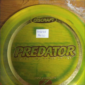 Discraft Yellow Stock Z Plastic Predator 170-172 Grams