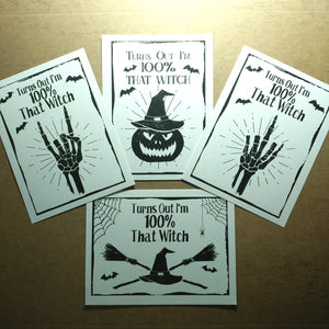 100% That Witch Halloween Stickers