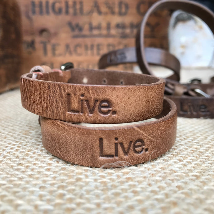 Classic Leather Bracelet - Vintage Light Brown - Bucket Bands