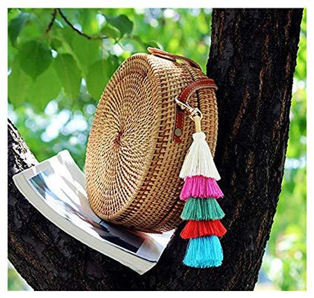 Hand Made Colorful Bohemian Tassel Bag Charm Keychain Handbag Pendant (Multicolored - white)