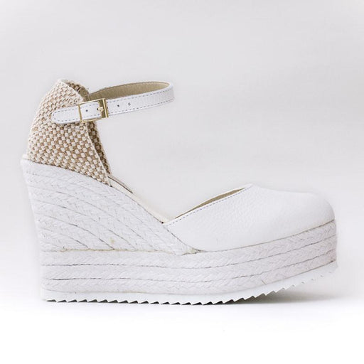 Cuñas Piel Blanco - 4qui.com Mercado Global en Español  Women Shoes