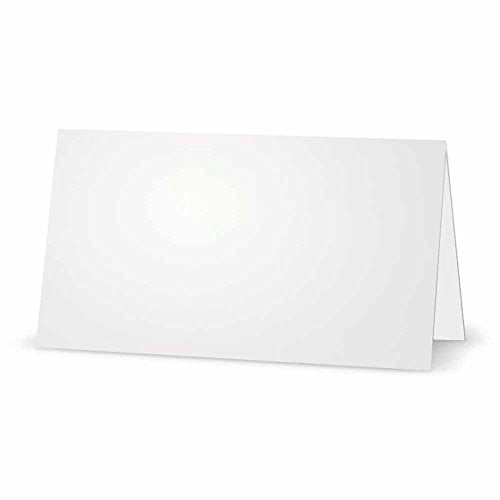 White Place Cards - FLAT or TENT Style - 10 or 50 PACK - Solid Color Placement Table Name Dinner Seat - Stationery Party Supplies - Any Occasion Event or Holiday (10, TENT Style)