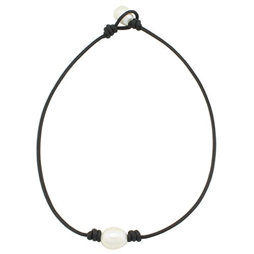 Single A Womens Pearl Necklace Cord - Braided June Birthstone Rice Pearl Stone String Leather Necklace Wholesale Simple Diy With Genuine Black Leather Cord Jewelry for Women Teen Girls Mom 16 Inch