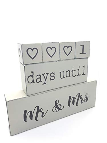 Lillium Wooden Block Wedding Day Countdown Calendar – Counting Down Days Until Mr Mrs – Wooden Engagement Gift Set for Engaged Couples – Reversible Rustic Wood Date Dice I Do Event Clock