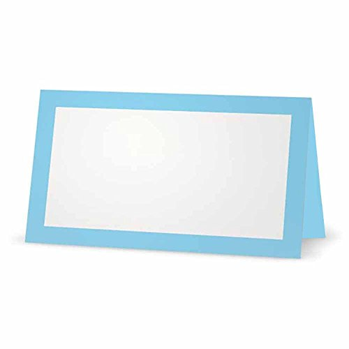 Light Blue Place Cards - FLAT or TENT Style - 10 or 50 PACK - White Blank Front Solid Color Border Placement Table Name Dinner Seat Stationery Party Supplies Occasion Event Holiday (10, TENT STYLE)