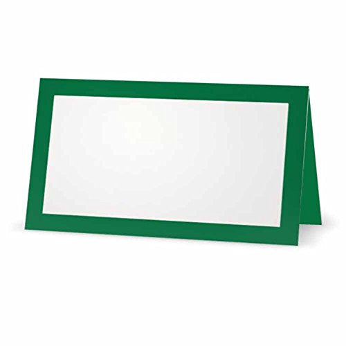 Green Place Cards - Flat or Tent - 10 or 50 Pack - White Blank Front with Solid Color Border - Placement Table Name Seating Stationery Party Supplies - Occasion or Dinner Event (50, Tent Style)
