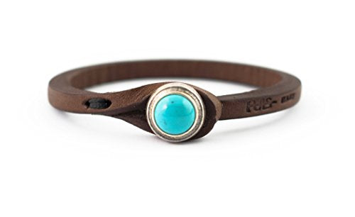 Tulsi Ginger Wrap Bracelet by Genuine Italian Vegetable-Tanned Leather With Turquoise Stone Closure | Handmade In Italy