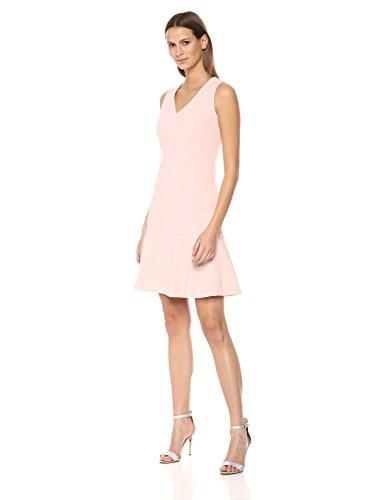 Calvin Klein Women's Solid Sleeveless V Neck Flounce Hem Dress