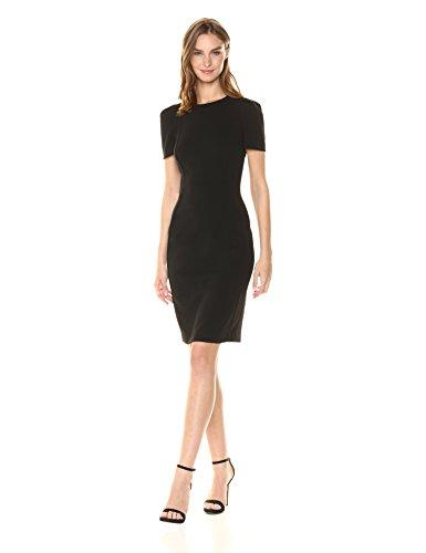 Calvin Klein Women's Solid Short Sleeved Princess Seamed Sheath Dress
