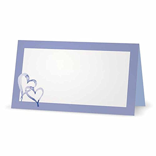 Hearts on Lilac and Blue Place Cards - TENT STYLE - 10 PACK - White Blank Front with Solid Color Border - Placement Table Name Seating Stationery Party Supplies - Occasion or Dinner Event