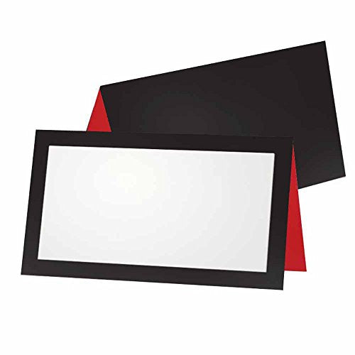 Black and Red Place Cards - FLAT or TENT - 10 or 50 Pack - White Blank Front with Border - Placement Table Name Seating Stationery Party Supplies - Occasion or Dinner Event (50, TENT STYLE)