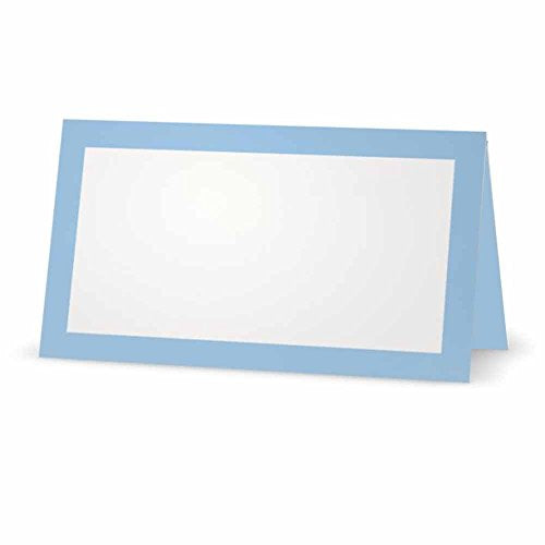 Baby Blue Place Cards - Flat or Tent - 10 or 50 Pack - White Blank Front with Solid Color Border - Placement Table Name Seating Stationery Party Supplies Occasion or Dinner Event (10, Tent Style)