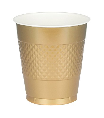 Amscan Big Party Pack Gold Plastic Cups | 16 oz. | Pack of 50 | Party Supply
