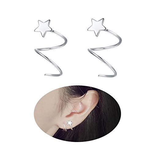 925 Sterling Silver Star Earrings for Women Teen Girls Fashion Wrap Earrings FarryDream