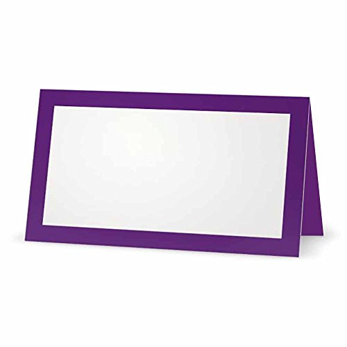 Purple Place Cards - Flat or Tent - 10 or 50 Pack - White Blank Front with Solid Color Border - Placement Table Name Seating Stationery Party Supplies - Occasion or Dinner Event (50, Tent Style)