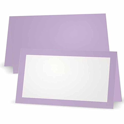 Lavender Place Cards - Flat or Tent Style - 10 or 50 Pack- White Front with Solid Color Border Placement Table Name Seating Stationery Party Supplies (50, Tent Style)