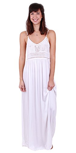 Made In Italy Maxi Dress with Crochet Bodice (White)