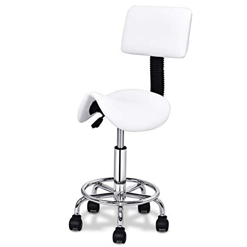 Giantex Hydraulic Salon Stool Rolling Saddle Chair with Backrest, Rolling Clinic Spa Massage Stool Chair, Adjustable Stool for spas beauty salons office, WHite