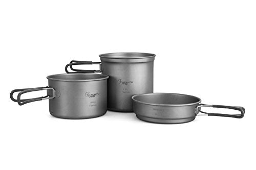 ProHealth HealthPro Titanium Lightweight 3-Piece (1.2L, 800ml, 400ml) Pot and Pan Camping Hiking Mess Kit Cookware Set