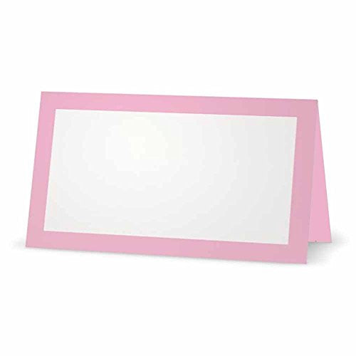 Light Pink Place Cards - FLAT or TENT Style - 10 or 50 PACK - White Blank Front Solid Color Border Placement Table Name Dinner Seat Stationery Party Supplies Occasion Event Holiday (50, TENT STYLE)
