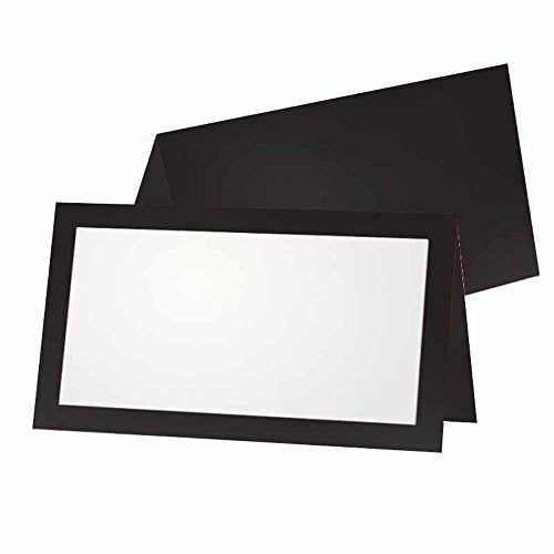 Black Place Cards - Flat or Tent - 10 or 50 Pack - White Blank Front with Solid Color Border - Placement Table Name Seating Stationery Party Supplies - Occasion or Dinner Event (50, Tent Style)