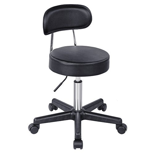 "SONGMICS Adjustable Massage Salon Spa Swivel Rolling Chair with Padded Stool and Back Support,Height Range: 18.1-24.4"", PU Black ULJB81B"