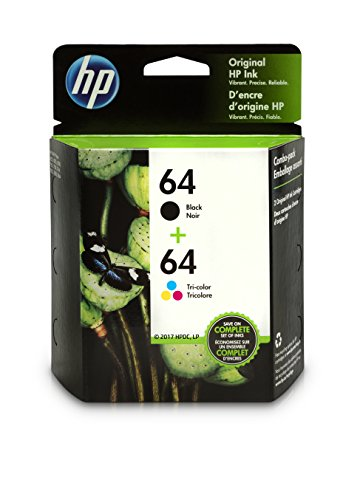 HP 64 Black & Tri-Color Original Ink Cartridges, 2 Cartridges (N9J90AN, N9J89AN) for HP Envy Photo 6252 6255 6258 7155 7158 7164 7855 7858 7864 HP Envy 5542