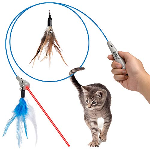 Friends Forever Cat Wand Toy Interactive Pet Laser Pointer, Laser Cat Feather Toy Teaser